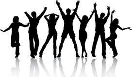 Dancing people. Silhouettes of group of people dancing Stock Image