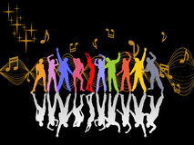 Dancing people. Illustration of dancing people silhouettes on an abstract background Stock Photo