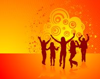 Dancing people. Vector silhouettes dancing man and women on abstract background, illustration Stock Illustration