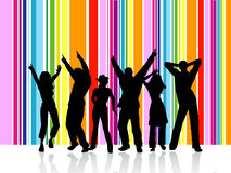 Dancing people. Silhoeuttes of people dancing on colourful striped background Stock Image