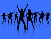 Dancing people. Silhouettes of people dancing on a blue background Stock Image