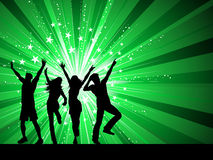 Dancing people. Silhouettes of people dancing on starburst background Stock Illustration