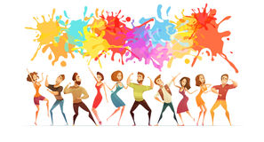 Dancing People Banner Colored Cartoon Banner. Festive poster with bright paint splashes and cartoon people figures in contemporary dance poses abstract vector Stock Photos