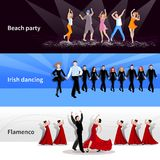 Dancing People Banners. Horizontal dancing on stage and at beach party people on colorful backgrounds flat isolated vector illustration Royalty Free Stock Image