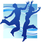 Dancing people in blue Royalty Free Stock Photography