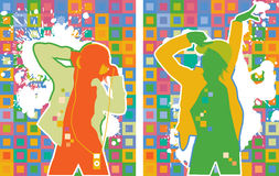 Dancing People on the Color Background. Vector illustration Vector Illustration
