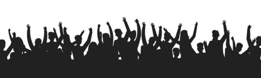 Dancing people crowd silhouettes. Concert audience dance party show stage shadow contour. Vector event fans group