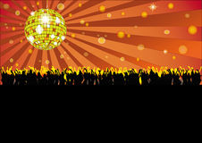 Dancing People Disco Ball Party Flyer Stock Photos