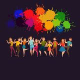 Dancing People Festive Colorful Poster Royalty Free Stock Image