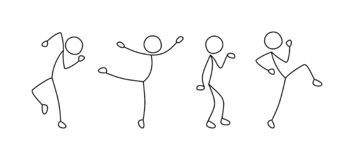 Dancing people, freehand drawing, sketch stock illustration