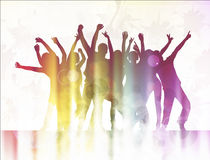 Dancing people happy silhouettes Stock Photography