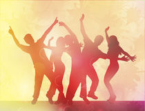 Dancing people happy silhouettes Stock Photos