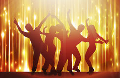 Dancing people happy silhouettes Stock Image