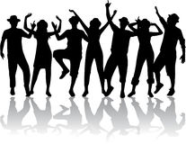Dancing people in hats Royalty Free Stock Photos