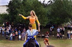 August 28, 2017: Beautiful girl dances east dance on horse in Ukraine, Odns region, August 28, 2017 Royalty Free Stock Photography