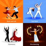 Dancing People 2x2 Icons Set. Performing various styles of dancing people 2x2 flat icons set  vector illustration Royalty Free Stock Photo