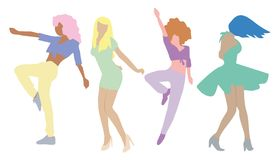Dancing people isolated on white background. New Year party. royalty free illustration