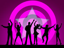 Dancing People Means Disco Music And Celebration Stock Photography