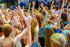 Dancing people no the annual holi festival royalty free stock photography