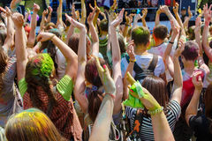 Dancing people no the annual holi festival Royalty Free Stock Images