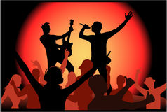 Dancing people and playing stock illustration