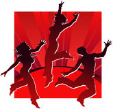Dancing people in red Royalty Free Stock Photography