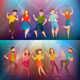 Dancing People Retro Banners Set stock illustration