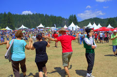 Dancing people at Rozhen Folklore Festival,Bulgaria Royalty Free Stock Photos