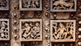 Dancing people on sculpture ceilings of Hindu temple Hoysaleswara with fantastic carvings. Hoysala Empire, India. Royalty Free Stock Images