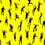 Dancing people semless pattern. People figures in motion. Backgr. Dancing people semless pattern. People figures in motion. Cute background with silhouettes of Stock Photos