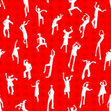Dancing people semless pattern. People figures in motion. Backgr. Dancing people semless pattern. People figures in motion. Cute background with  silhouettes of Royalty Free Stock Photo