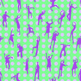 Dancing people semless pattern. People figures in motion. Backgr. Dancing people semless pattern. People figures in motion. Cute background with  silhouettes of Royalty Free Stock Photography