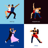 Dancing People Set. Dancing people design concept set with hustle modern jazz waltz and tango styles flat icons  vector illustration Stock Image