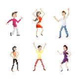 Dancing People Set. Pixel Art Dancing People Set Royalty Free Stock Photos