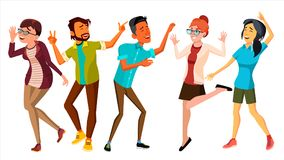 Dancing People Set Vector. Smiling And Have Fun. Free Movement Poses. Isolated Flat Cartoon Illustration stock illustration
