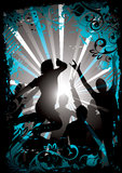 Dancing people silhouette Royalty Free Stock Images