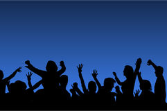 Dancing people silhouettes. Crowd of happy people - dancing with hands rise up Royalty Free Stock Images