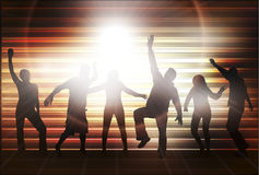 Dancing people silhouettes with background Stock Image