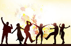Dancing people silhouettes with background Stock Photo