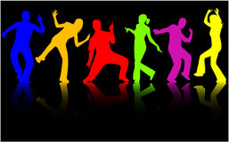 Dancing people silhouettes - c Stock Images