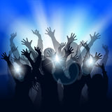 Dancing people silhouettes. Cheering people dancing at the concert in front of bright stage lights. Party people. Festive background with silhouettes of people Royalty Free Stock Images