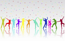 Dancing people silhouettes Royalty Free Stock Photos