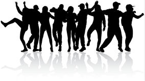 Dancing people silhouettes. Happy crowd Stock Photography