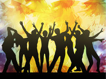 Dancing people silhouettes. Happy crowd Royalty Free Stock Photo