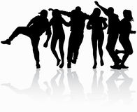 Dancing people silhouettes. Happy runners Stock Photography
