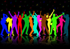 Dancing people silhouettes Royalty Free Stock Photo