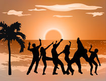 Dancing people silhouettes Stock Image