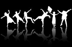Dancing people silhouettes Stock Photography