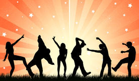 Dancing people silhouettes Stock Photos