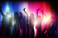 Dancing people silhouettes. Party time Stock Images